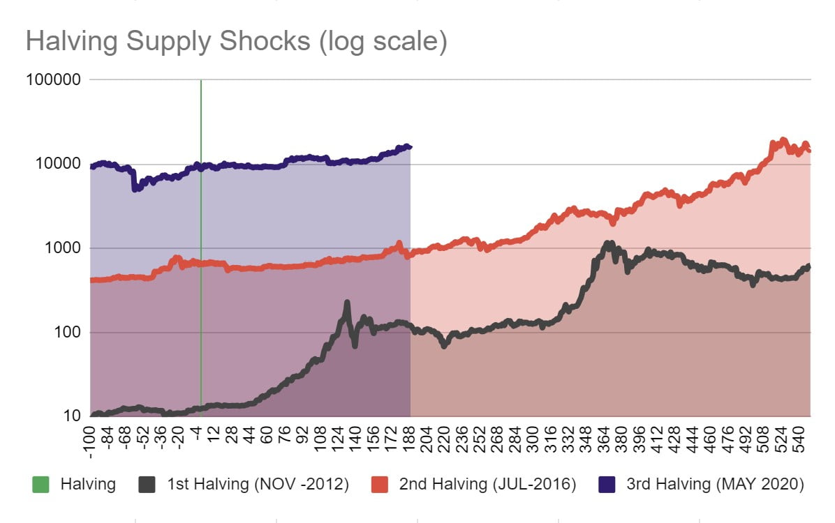 Bitcoin Halving Supply Shocks, 2012, 2016 and 2020 - Bitcoin the future of money